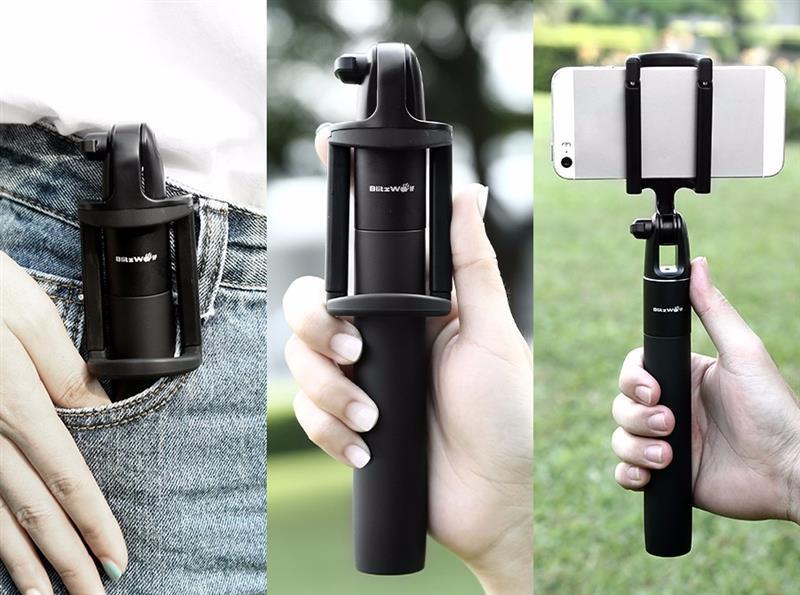 Asmenukių-Selfie lazda BlitzWolf BW-BS2 Bluetooth juoda