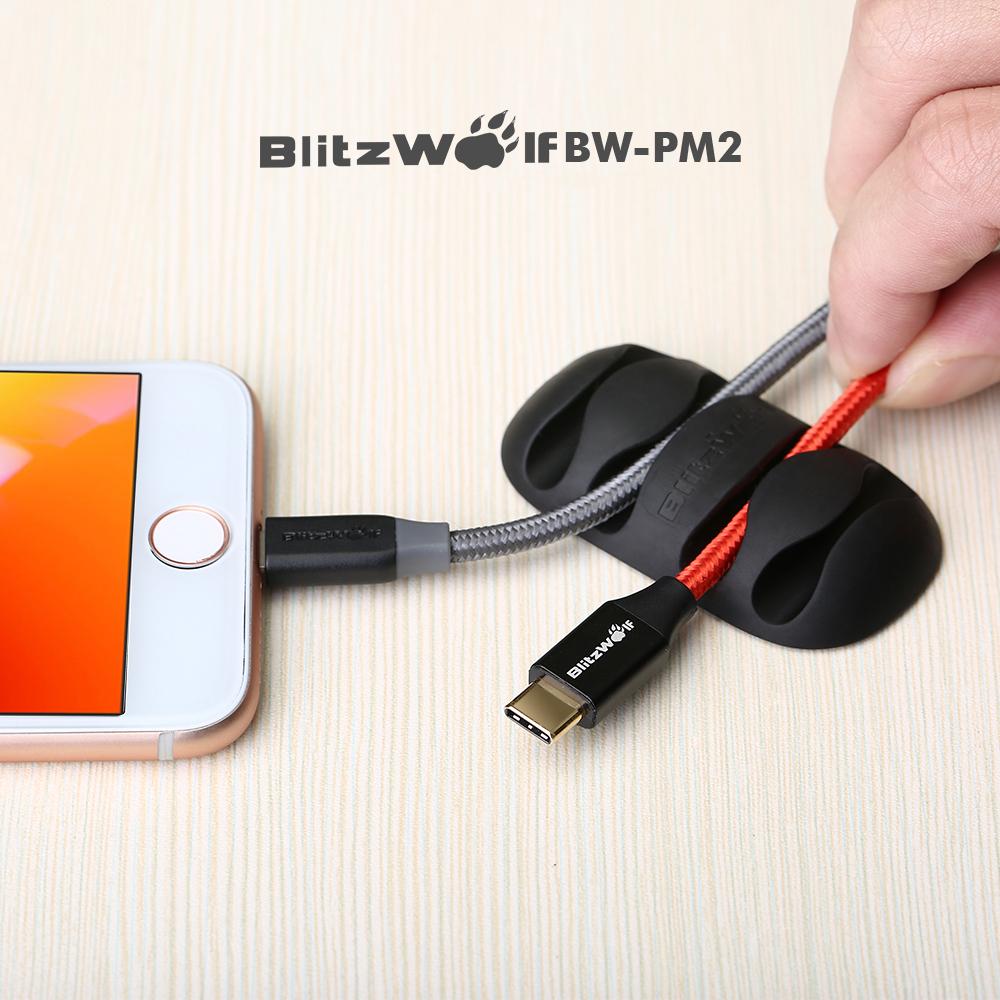 SmartZone.bg Oрганайзери за кабели BlitzWolf BW-PM2 (4 броя) (Бяло / Черно)