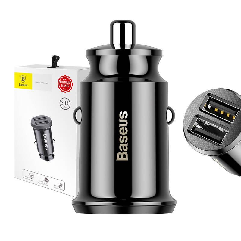 Ładowarka samochodowa Baseus Grain 2x USB 5V 3.1A (czarna