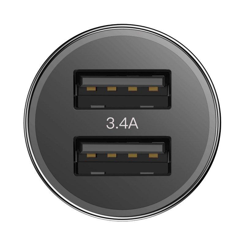 Ładowarka samochodowa Baseus Small Screw 2xUSB 3,4A (czarna